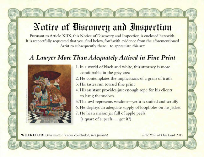 A Lawyer More Than Adequately Attired In Fine Print Notice Of Discovery And Inspection James Christensen