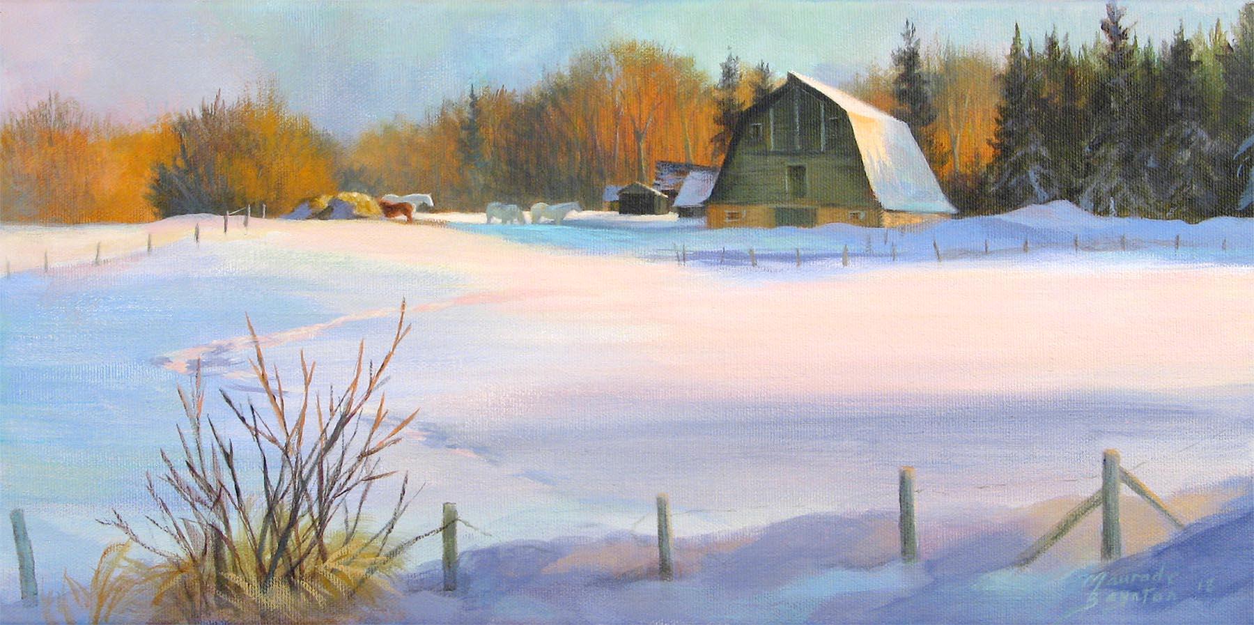 Alberta Winter Barn - Maurade Baynton