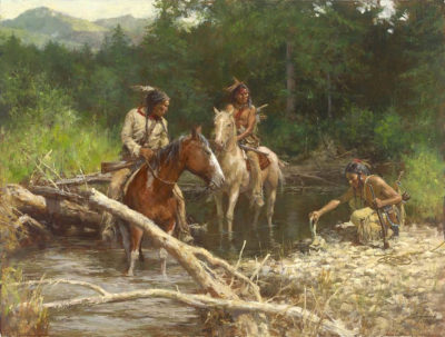 Blackfeet Scouts in the Flathead Valley - Howard Terpning