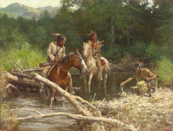 Blackfeet Scouts in the Flathead Valley - Howard Terpning