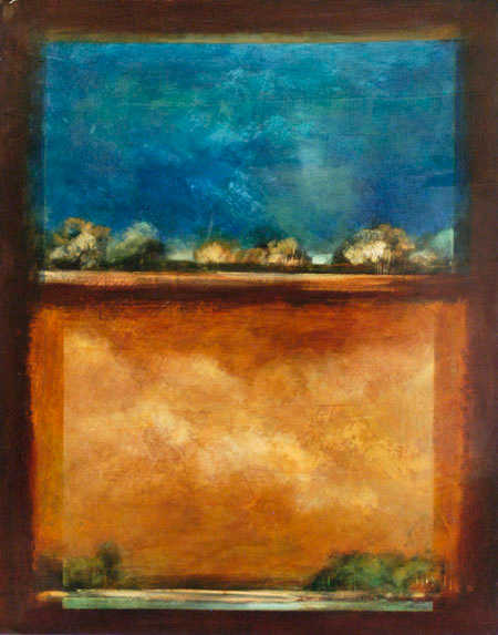 Blue And Tan Abstract Fiona Hoop
