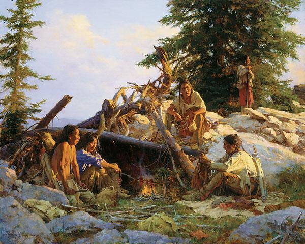 Camp At The Cougar's Den Howard Terpning.