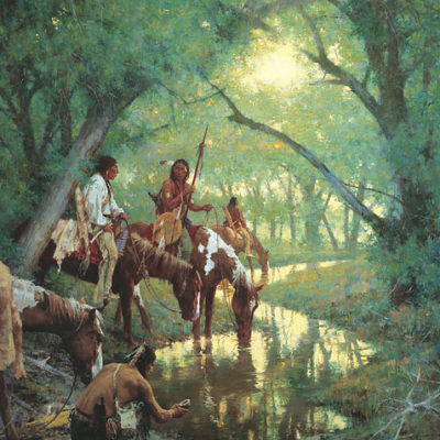 Cheyenne At The Disappearing Creek Called 'White Woman' Howard Terpning