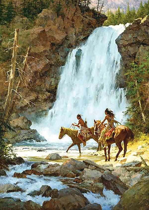 Crossing Below the Falls - Howard Terpning