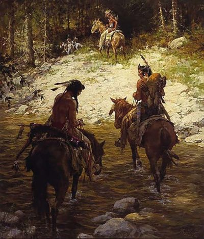 Crossing at Medicine Lodge Creek - Howard Terpning