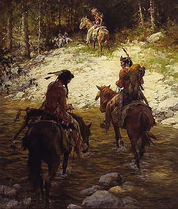 Crossing at Medicine Lodge Creek - Howard Terpning