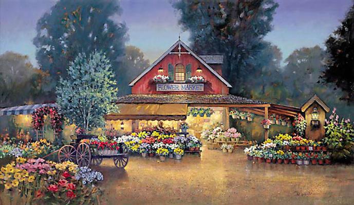 Evening At The Flower Market Paul Landry