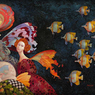 Faeries Pursued by Butterfly Fish - James Christensen