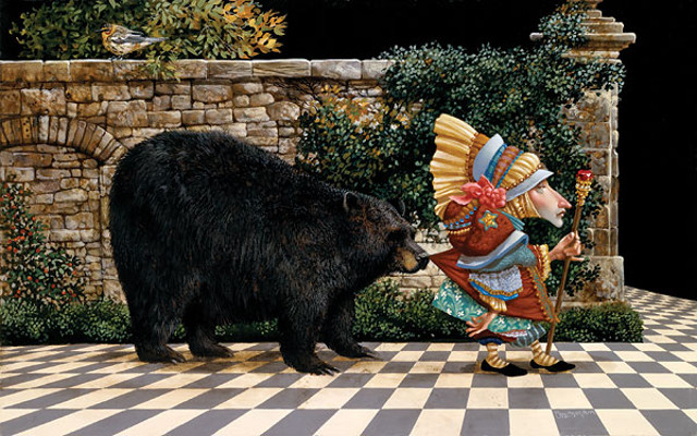 Lawrence Pretended Not To Notice That A Bear Had Become Attached To His Coattail James Christensen