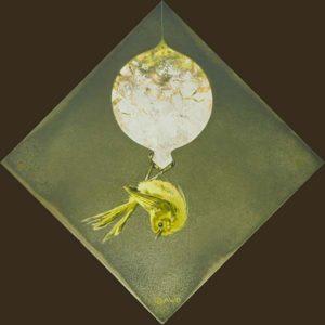 Ornament #4 - Bushtit in Lime Green - Andrew Denman