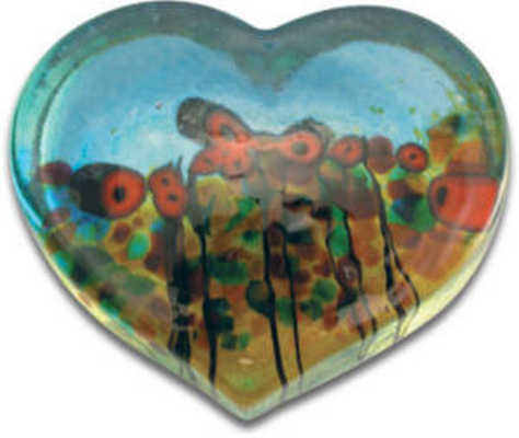 Paperweight California Poppy Large Heart (3 Inches) Robert Held