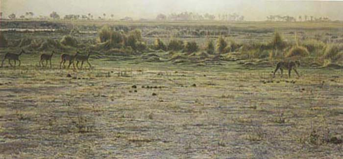 Peaceable Kingdom - Lechwe & Lioness - Robert Bateman