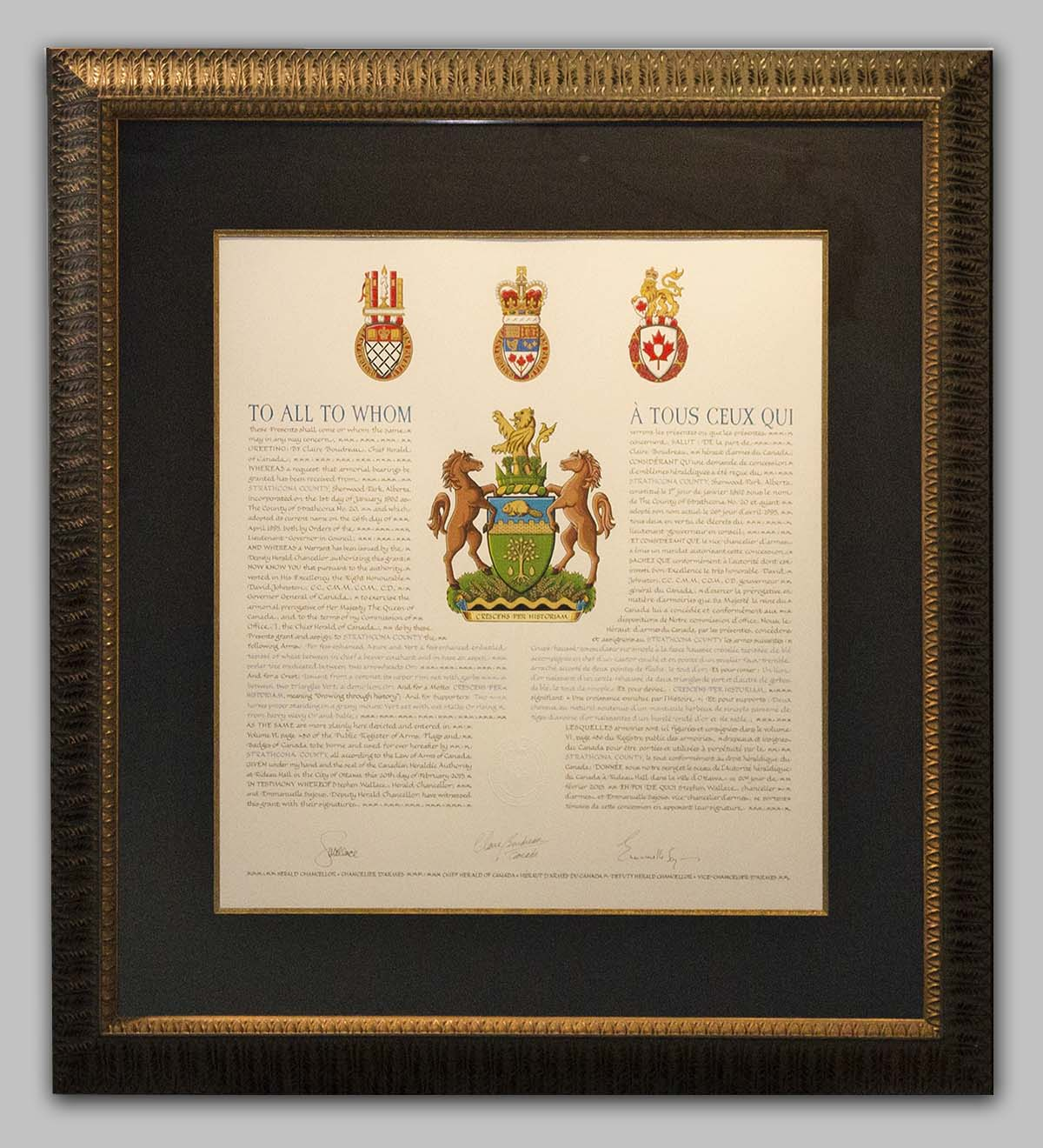 Picture Framing Example - Strathcona County Coat of Arms