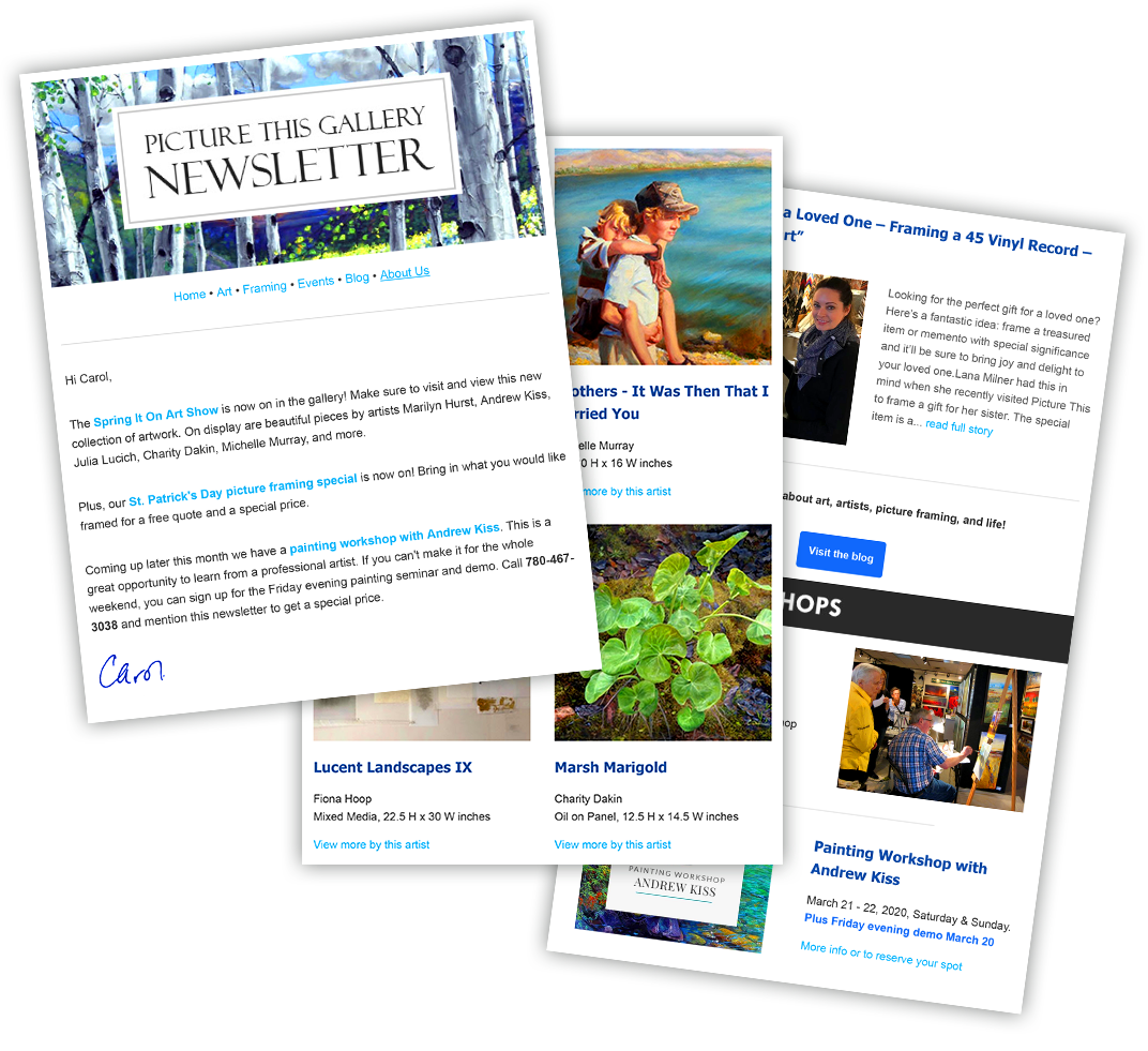 Picture This Gallery Newsletter - Sample Pages