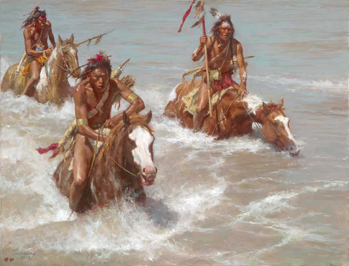 Pursuit Across the Yellowstone - Howard Terpning