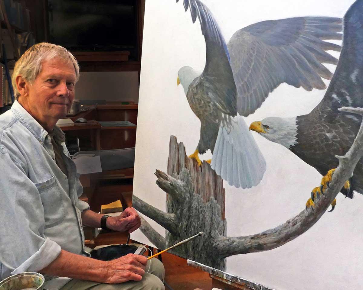 Robert Bateman Painting Eagles - Photo Credit Birgit Freybe Bateman