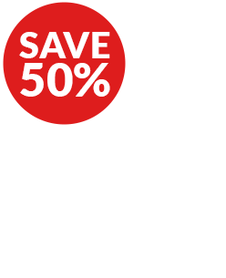 Save 50% and Palm Tree - Picture Tune-Up Graphic