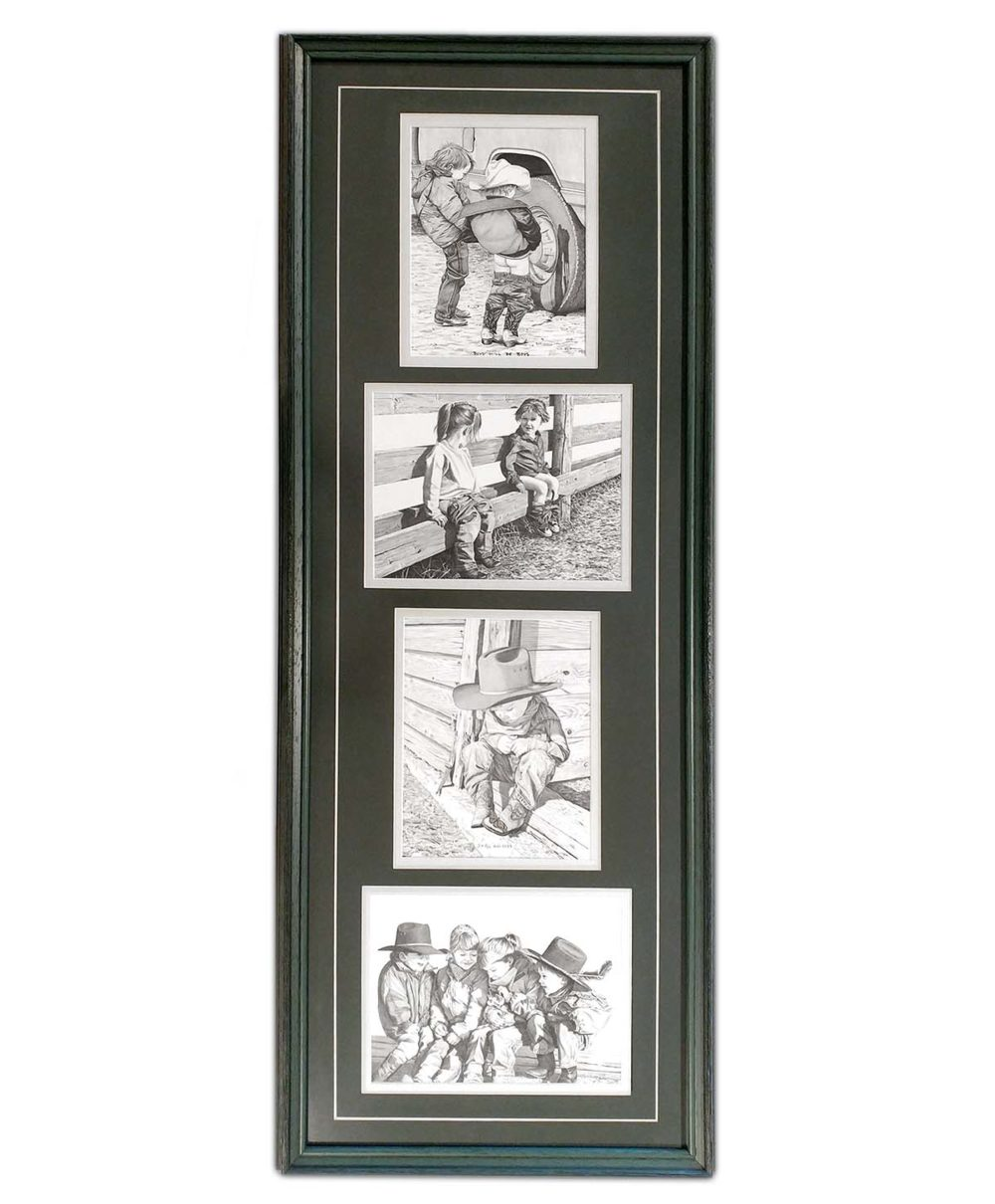 Set of 4 Framed Black and White Prints of Children - Bernie Brown
