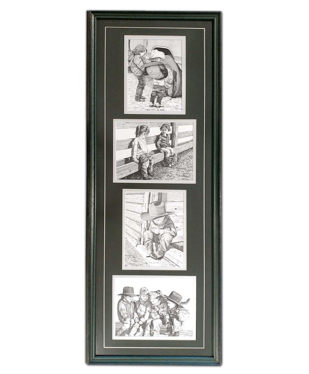Set of 4 Framed Black and White Prints of Children - Bernie Brown