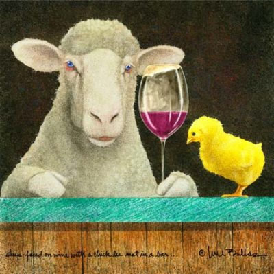sheep faced on wine with some chick...