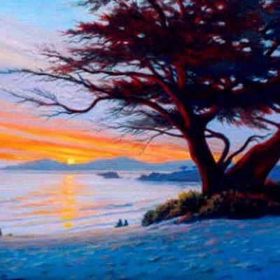 Sunset At Carmel Beach Charles White