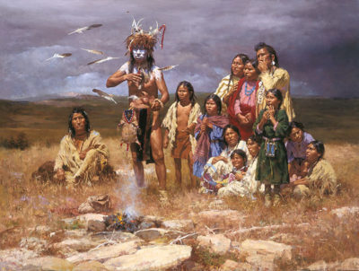 The Shaman And His Magic Feathers Howard Terpning.