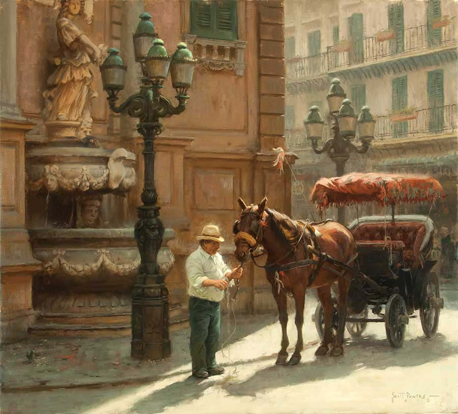 The Watering Hole at Piazza Villena, Palermo - Scott Tallman Powers