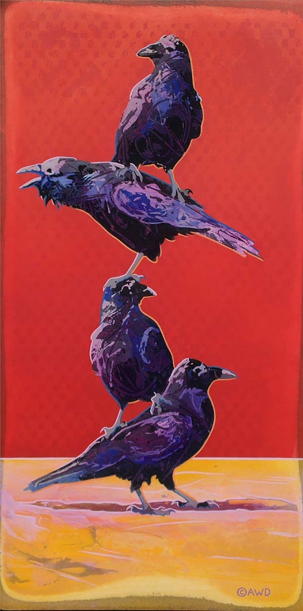 Tiny Totem #4 - Study for Totem #5 - Stacked Coyotes and Ravens - Andrew Denman