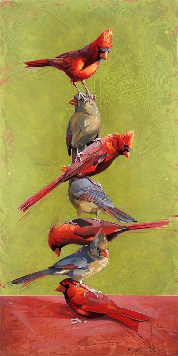 Totem #1 - Stacked Cardinals - Andrew Denman