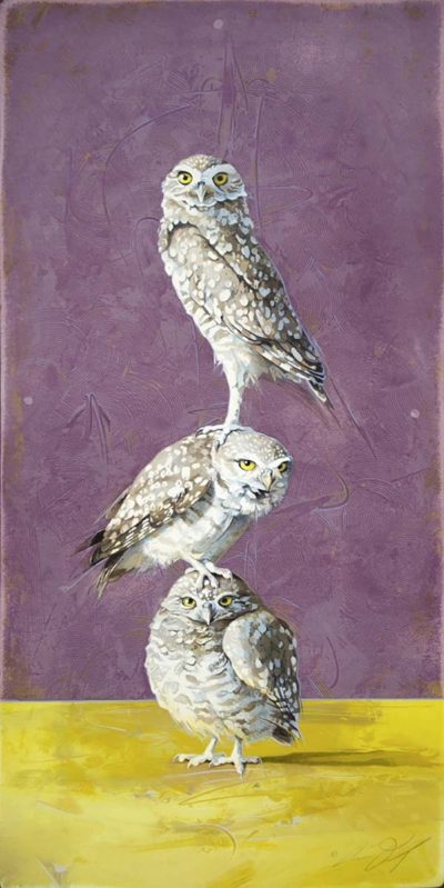Totem #4 - Stacked Burrowing Owls - Andrew Denman