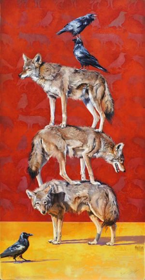 Totem #5 - Stacked Coyotes and Ravens - Andrew Denman