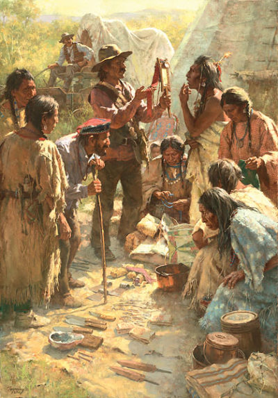 Traders Among The Crow Howard Terpning