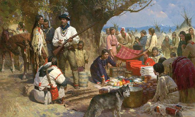Trading with the Blackfeet, Montana Territory, 1860 - Z. S. Liang