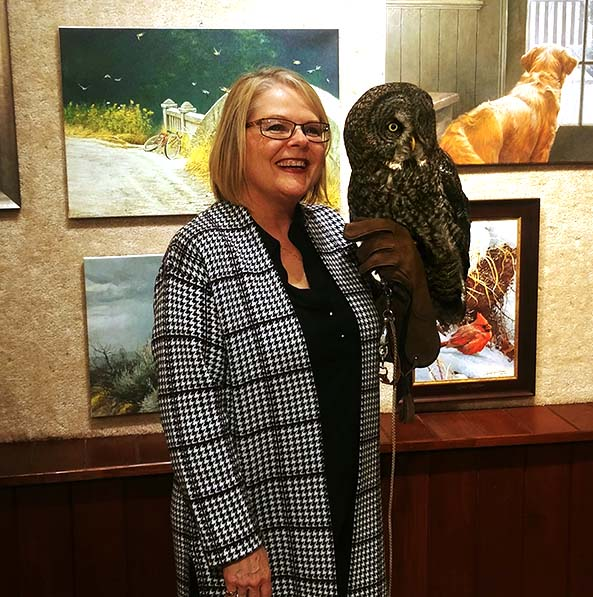 Wild North Donation from Picture This - Robert Bateman Event 2019 - Carol with Ray the Gray Gray Owl