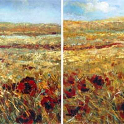 Windy Field Poppies Diptych Fiona Hoop