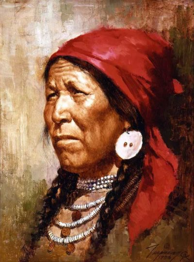 Woman with Red Scarf - Howard Terpning