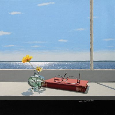 Yellow Flowers in Oval Vase with Red Book - Wayne Mondok