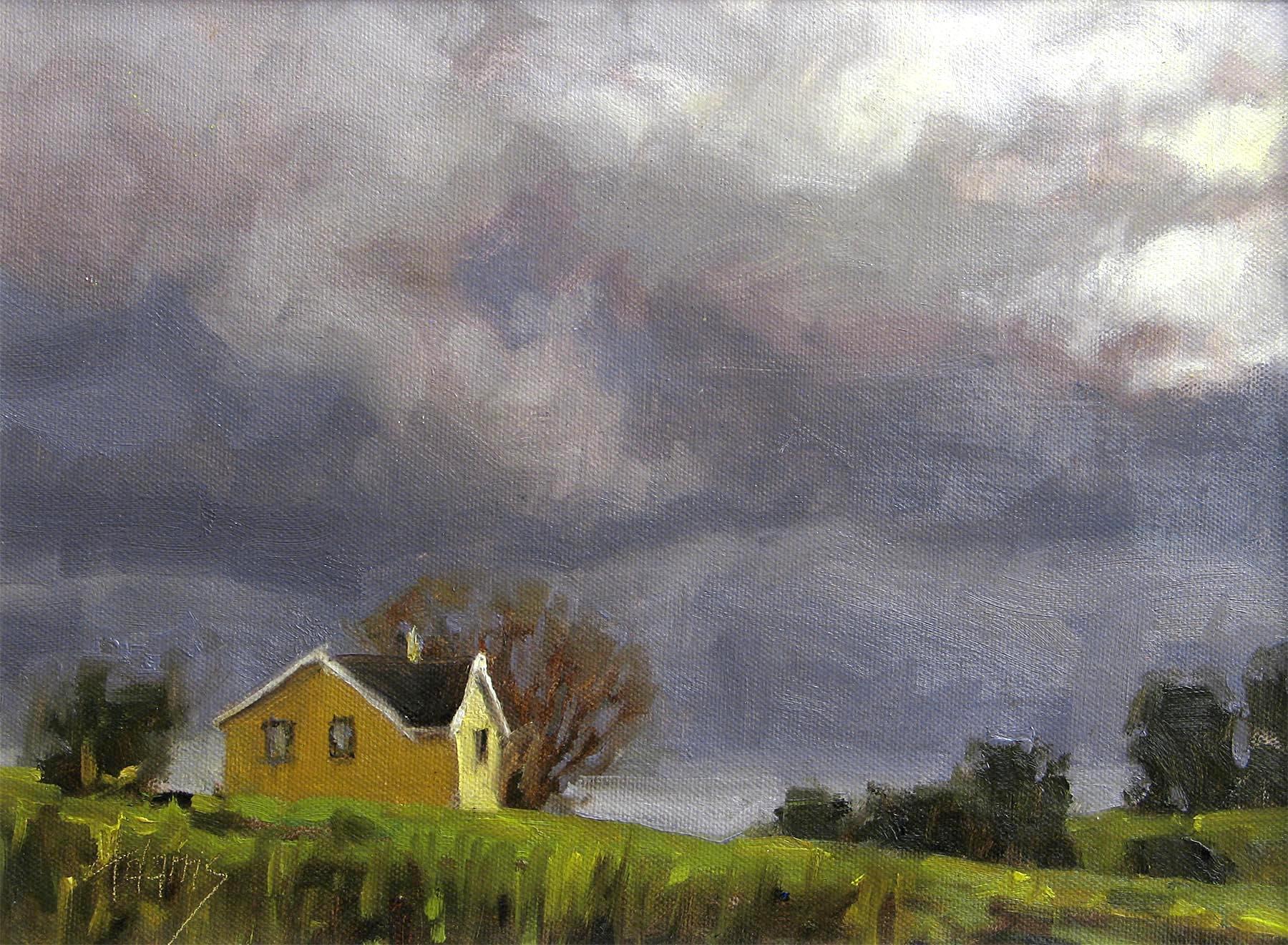 Yellow House and Stormy Skies - Gaye Adams